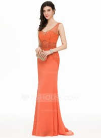 Trumpet/Mermaid V-neck Sweep Train Chiffon Prom Dresses ...