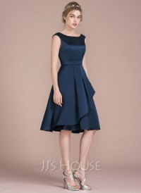 A-Line/Princess Scoop Neck Knee-Length Satin Bridesmaid ...