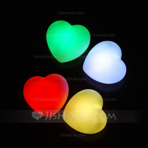 Color Changing Heart Shaped LED Lights Set Of 4 In