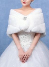 Faux Fur Wedding Shawl (013096709) - JJsHouse