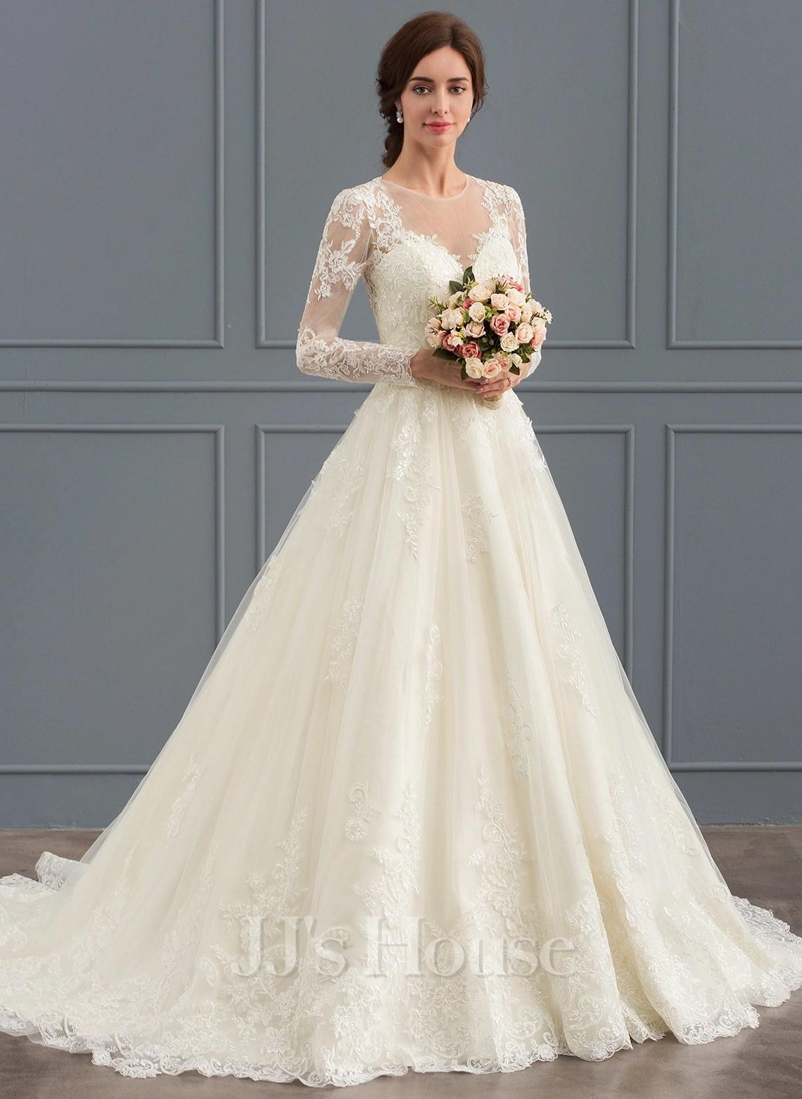BallGown Scoop Neck Court Train Tulle Lace Wedding Dress 002127273  Wedding Dresses  JJs House