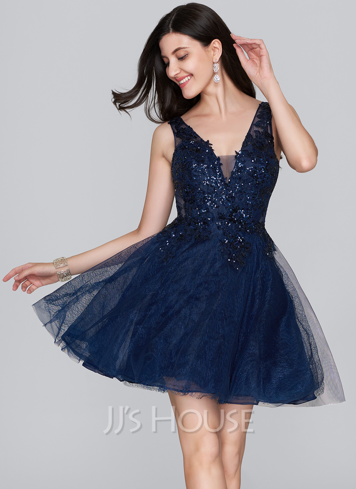 ALinePrincess Vneck ShortMini Tulle Homecoming Dress With Sequins 022124867  Homecoming