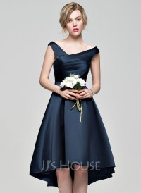A-Line/Princess Off-the-Shoulder Asymmetrical Satin ...