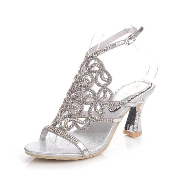 Womens Leatherette Chunky Heel Sandals Slingbacks With