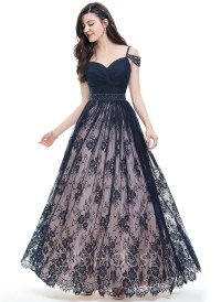 Ball-Gown Sweetheart Floor-Length Lace Prom Dress With ...