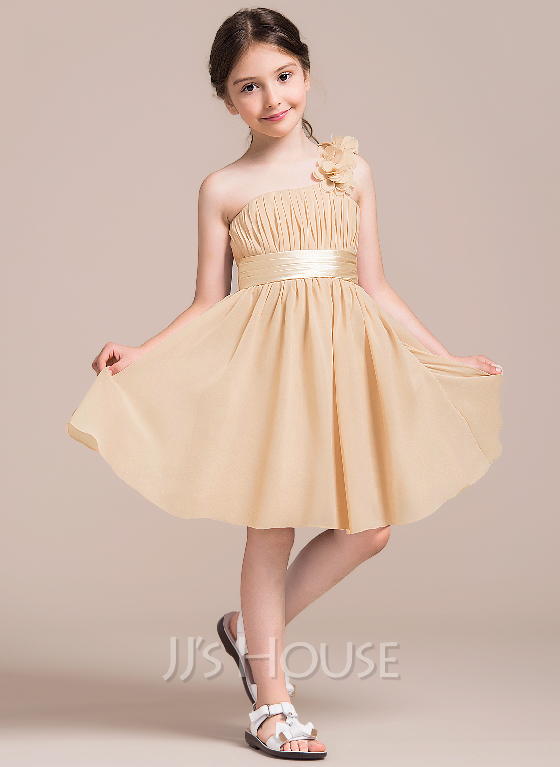 A LinePrincess One Shoulder Knee Length Chiffon Junior