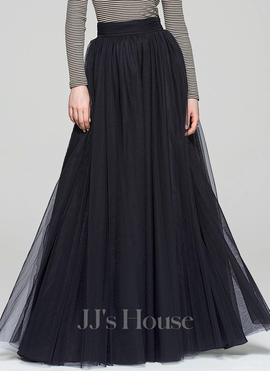 ALinePrincess FloorLength Tulle Cocktail Skirt