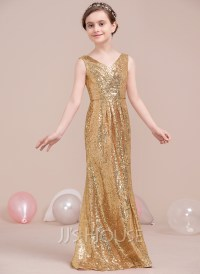A-Line/Princess V-neck Floor-Length Sequined Junior ...