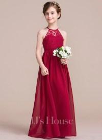 A-Line/Princess Floor-length Flower Girl Dress - Chiffon ...