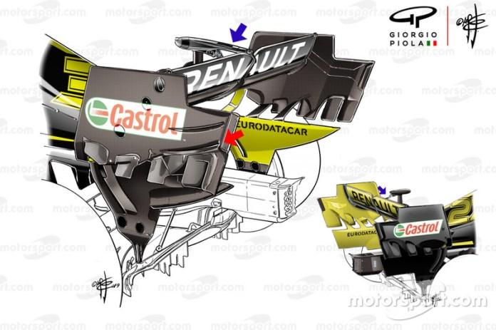 Comparación del DRS del Renault F1 Team R.S.19 en el GP de Canadá
