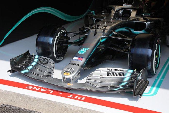 The Mercedes AMG F1 W10 Lewis Hamilton