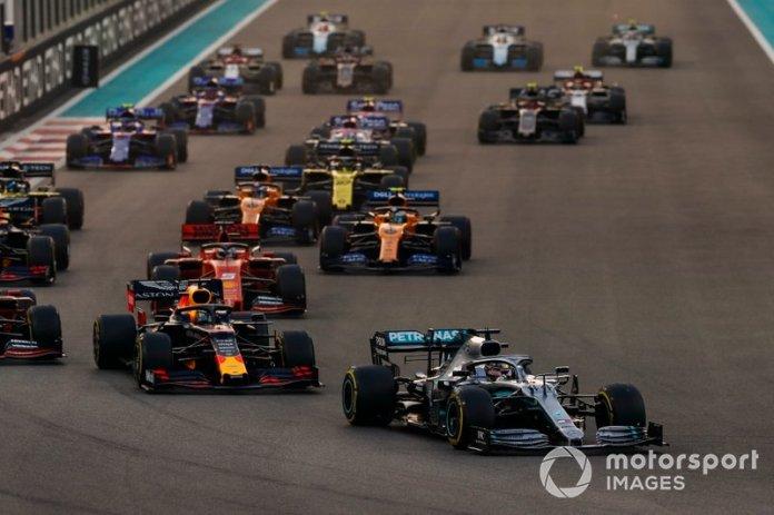 Lewis Hamilton, Mercedes AMG F1 W10, Max Verstappen, Red Bull Racing RB15, Charles Leclerc, Ferrari SF90, Sebastian Vettel, Ferrari SF90, Lando Norris, McLaren MCL34, Carlos Sainz Jr., McLaren MCL34