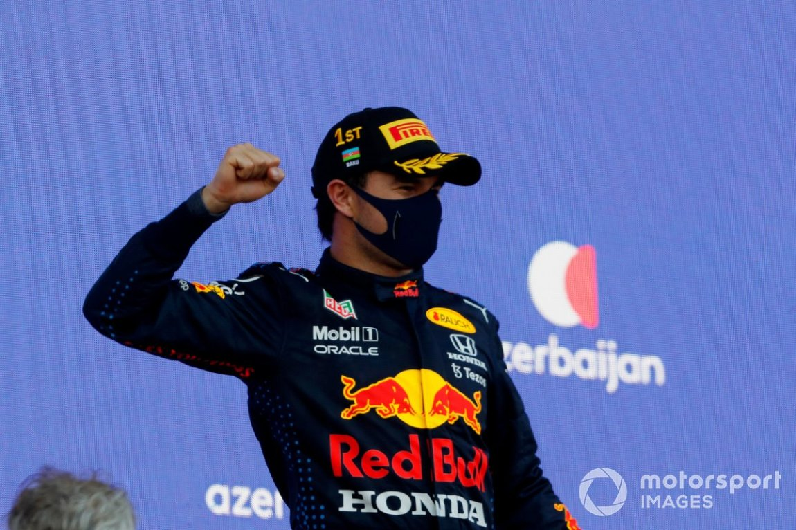 Sergio Perez, Red Bull Racing, 1st classified, on the podium