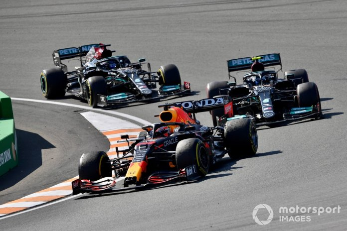 Max Verstappen, Red Bull Racing RB16B, Valtteri Bottas, Mercedes W12, and Lewis Hamilton, Mercedes W12