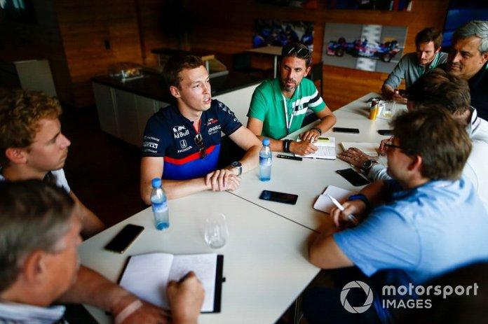 Daniil Kvyat, Toro Rosso, talks to the media