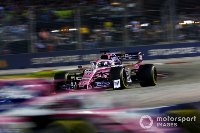 Sergio Pérez, Racing Point RP19 persigue a Lance Stroll, Racing Point RP19