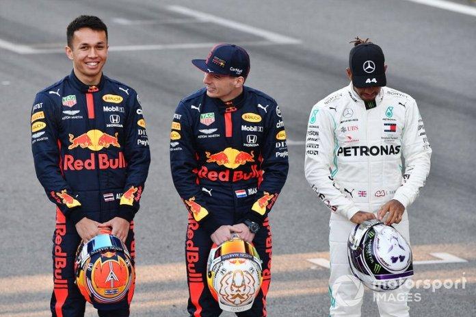 Alexander Albon, Red Bull Racing, Max Verstappen, Red Bull Racing y Lewis Hamilton, Mercedes-AMG Petronas F1