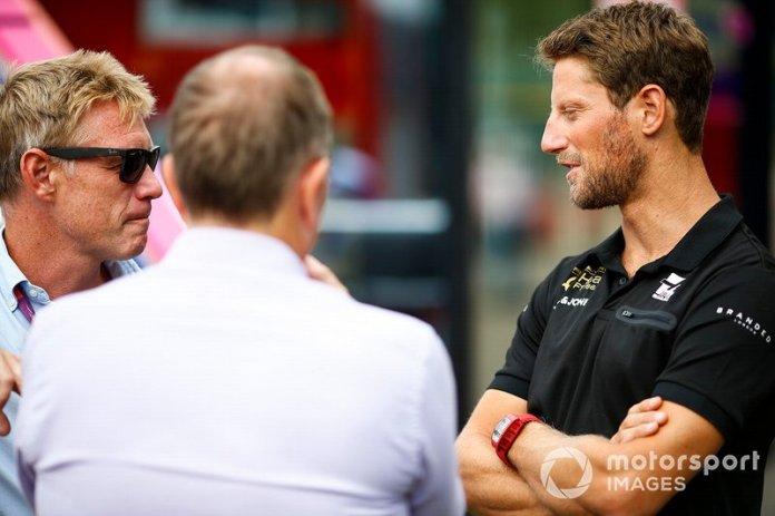Romain Grosjean, Haas F1, talks to Martin Brundle, Sky TV, and Simon Lazenby