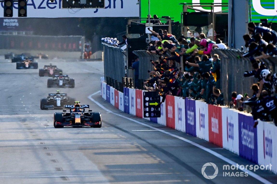 Sergio Perez, Red Bull Racing RB16B, wins the Azerbaijan GP