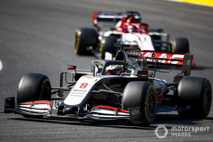Romain Grosjean, Haas VF-20, Kimi Raikkonen, Alfa Romeo Racing C39