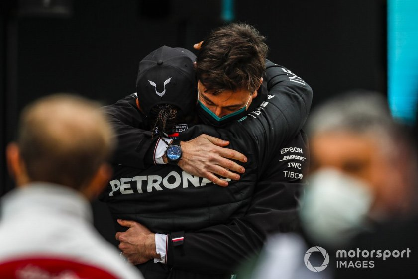 Lewis Hamilton, Mercedes-AMG F1, celebrates at Parc Ferme after securing his seventh world championship with Toto Wolff, Mercedes AMG Director