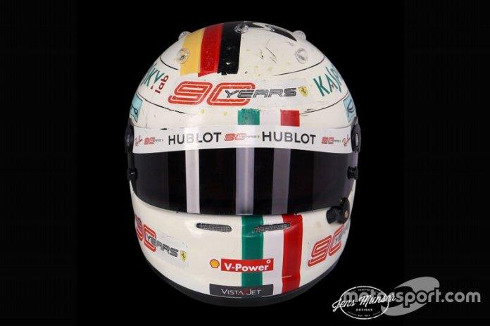 El casco de Sebastian Vettel, Ferrari, para el GP de Italia 2019