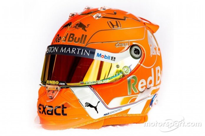 El casco de Max Verstappen, Red Bull Racing, para el GP de Bélgica