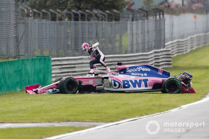 Sergio Perez, Racing Point RP19, gets out of his car after his accident in the FP1 of Monza