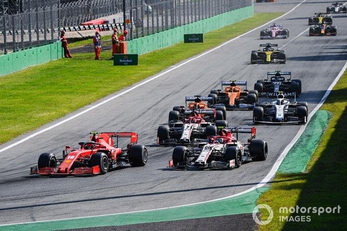 Charles Leclerc, Ferrari SF1000, Antonio Giovinazzi, Alfa Romeo Racing C39, Kimi Raikkonen, Alfa Romeo Racing C39, Carlos Sainz Jr., McLaren MCL35