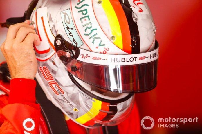 Sebastián Vettel, Ferrari, en el GP de Bélgica en 2019