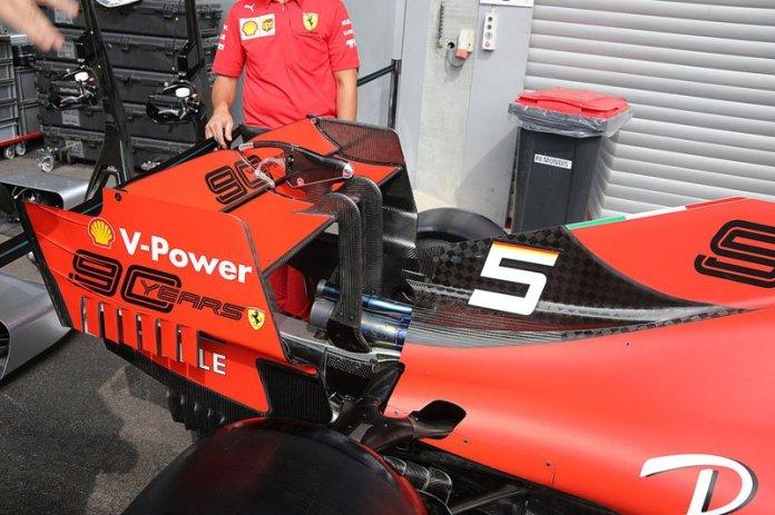 The rear wing of the Ferrari SF90