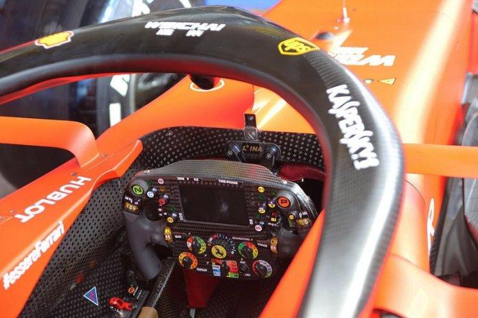 The cockpit of the Ferrari SF90