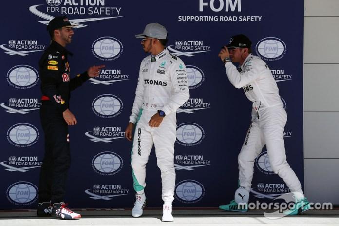 Ricciardo, Hamilton y Rosberg en Austin 2016
