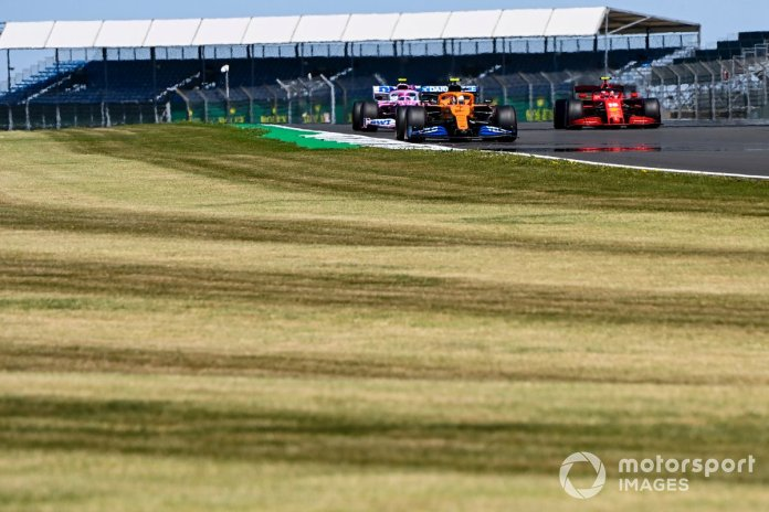 Lando Norris, McLaren MCL35, Lance Stroll, Racing Point RP20 Y Charles Leclerc, Ferrari SF1000