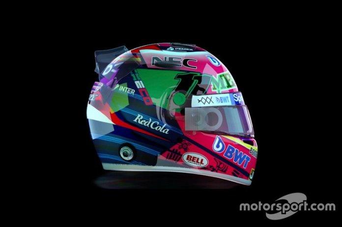 Diseño del casco de Sergio Pérez, Racing Point para el GP de México