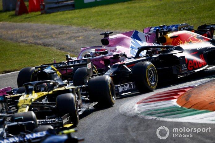 Daniel Ricciardo, Renault F1 Team R.S.20, Max Verstappen, Red Bull Racing RB16, Sergio Pérez, Racing Point RP20