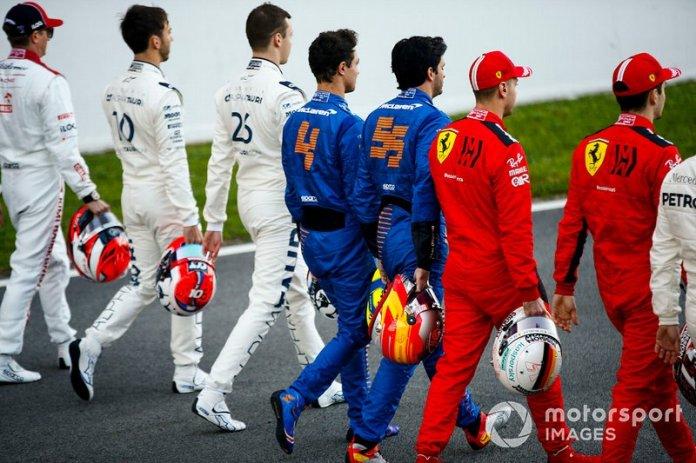 Pierre Galsy, AlphaTauri, Daniel Kvyat, AlphaTauri, Lando Norris, McLaren, Carlos Sainz, McLaren, Sebastien Vettel, Ferrari y Charles Leclerc, Ferrari