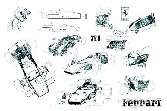 Ilustración de Giorgio Piola, Ferrari 312B