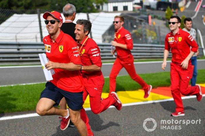 Sebastian Vettel, Ferrari, makes a trackwalk