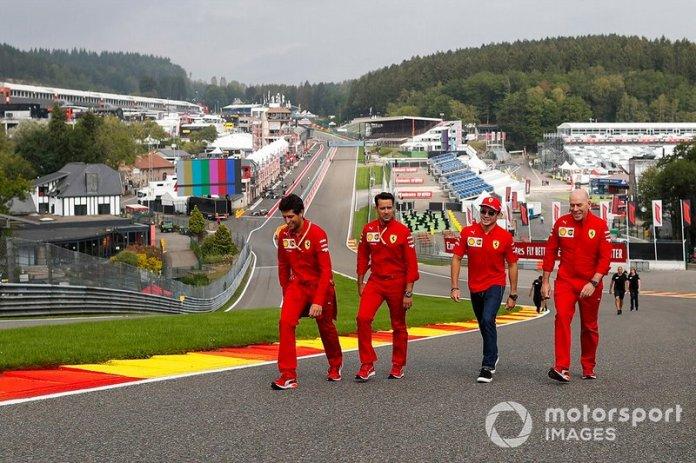 Charles Leclerc, Ferrari, makes a trackwalk with Jock Clear, Ferrari racing engineer