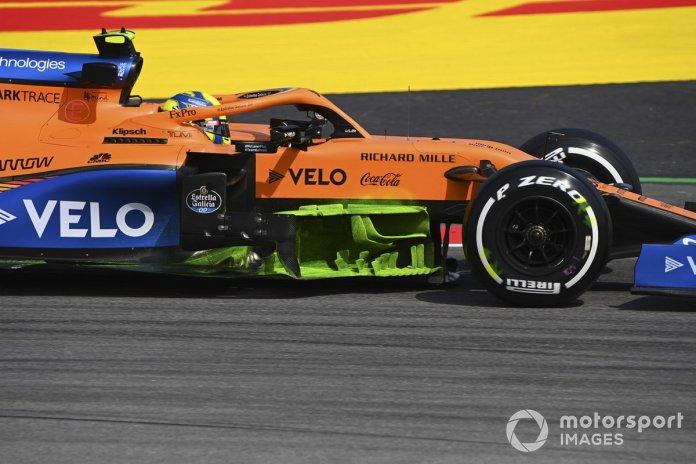 Lando Norris, McLaren MCL35 con pintura de parafina