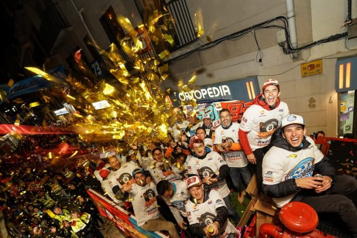 Marc Marquez and his brother Alex celebrate their 2019 champion titles in Cervera