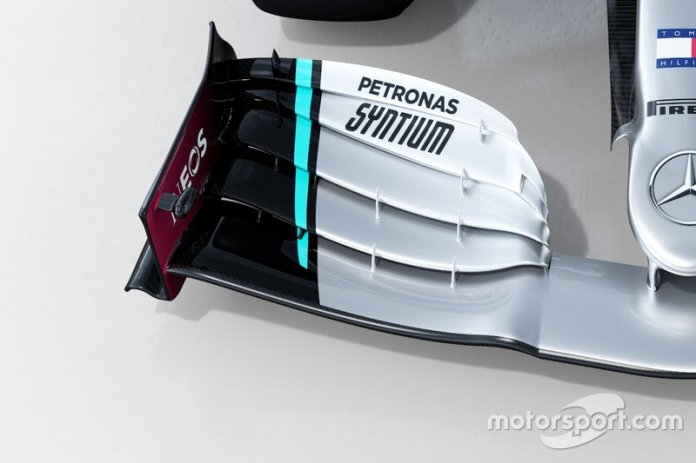 Detalle delantero del Mercedes AMG F1 W11