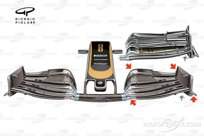 Detalle del alerón delantero VF-19 de Haas
