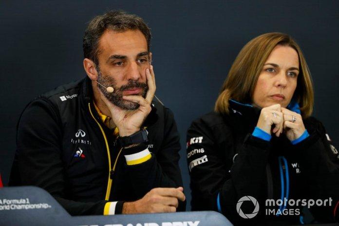 Cyril Abiteboul, Director General, Renault F1 Team, y Claire Williams, Subdirectora del equipo, Williams Racing