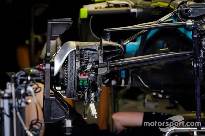 A front brake of the Mercedes AMG F1 W10