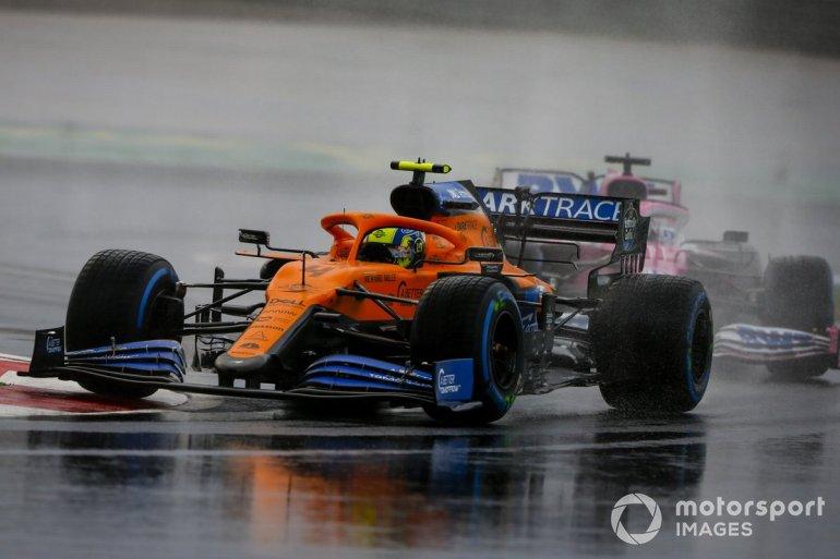 Lando Norris, McLaren MCL35, Sergio Pérez, Racing Point RP20