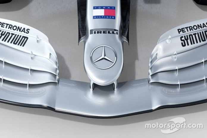 Detalle del morro del Mercedes AMG F1 W11