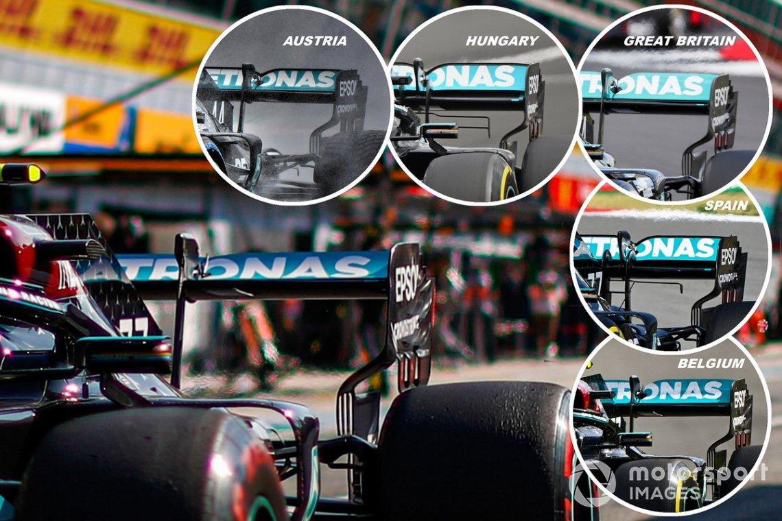 Mercedes AMG W11 rear wing comparison