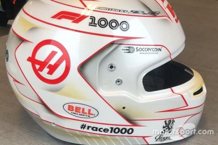 El Casco de Romain Grosjean, Haas F1 Team, para el GP de China